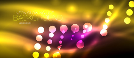 Circle abstract lights, neon glowing background. Vector digital template