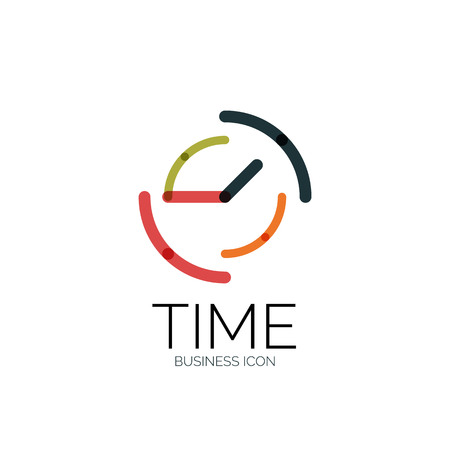 Vector abstract logo idea, time concept or clock business icon. Creative logotype design template, linear flat thin line design Illustration