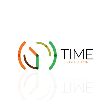 Vector abstract idea, time concept or clock business icon. Creative design template, linear flat thin line design Illustration