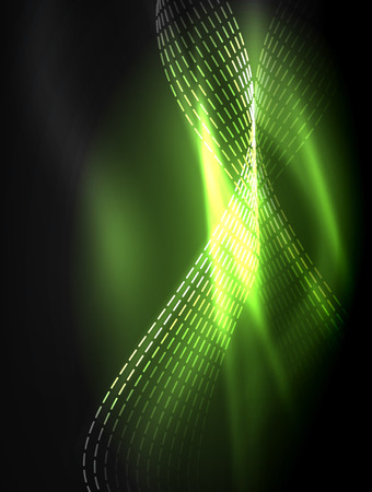 Elegant neon flowing stripes, smooth waves with light effects. Vector illustration Illustration