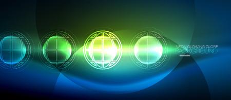Techno globe concept, neon glow planet Illustration