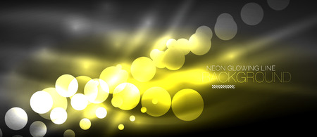Circle abstract lights, yellow neon glowing background.