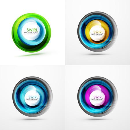 Set of abstract swirls on colorful presentation. Illusztráció