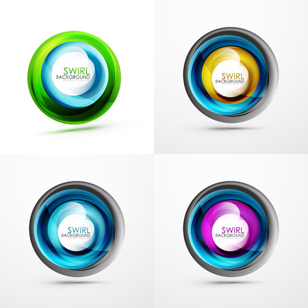 Set of abstract swirls on colorful presentation. Illustration
