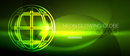 Techno globe concept, neon glow planet Illustration
