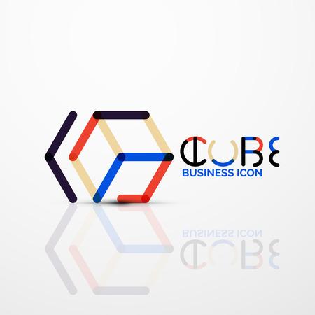 Logo de concept idée cube, ligne