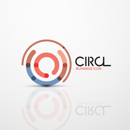 Abstract swirl lines symbol, circle logo icon. Vector minimal linear style design