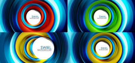 Set of spiral swirl line backgrounds