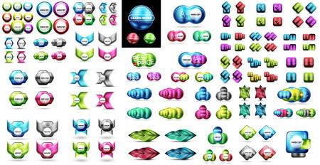 Conjunto de banners metálicos brillantes y banners - botones de venta o insignias. Promociones de productos, ofertas especiales, plantillas de banner publicitario
