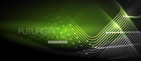 Neon glowing techno lines Vector illustration. Illustration