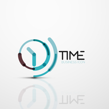 Vector abstract logo idea, time concept or clock business icon Illustration
