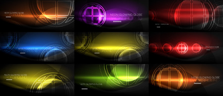 Conjunto de ilustración de concepto de planeta tierra tecno, idea global, en fondo negro.