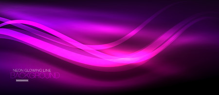 Neon purple elegant smooth wave lines digital abstract background.