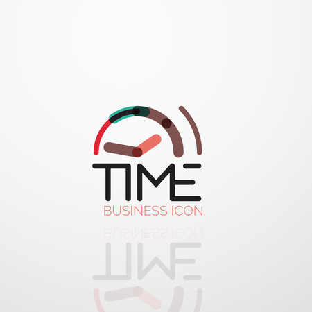 Abstract idea of time concept or clock icon with reflection effect.