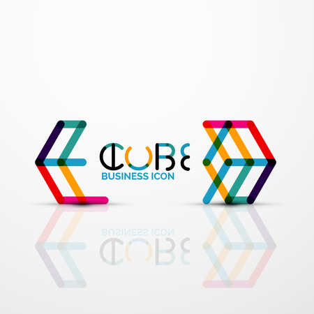 Abstract straight lines symbol, cube icon with reflection.