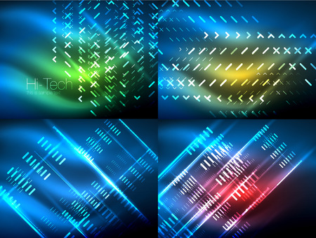 Set of glowing neon lines and shapes on dark with shiny motion Vector techno abstract backgrounds Illusztráció