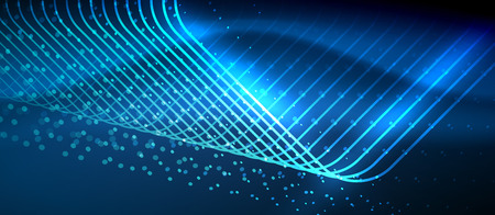Neon glowing techno lines Vector illustration. Çizim
