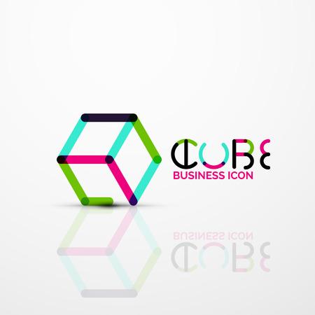 Cube idea concept icon, line Vector illustration. Illustration
