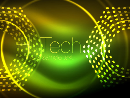 Glowing neon dotted shape abstract background.