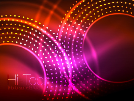 Magic neon circle shape abstract background.
