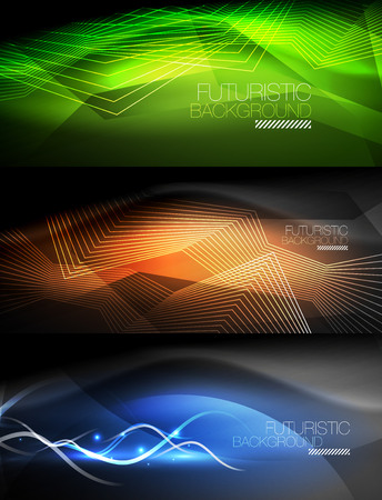 Set of neon glowing waves and lines, shiny light effect digital techno motion backgrounds. Collection of dark space magic vector illustrations Illustration