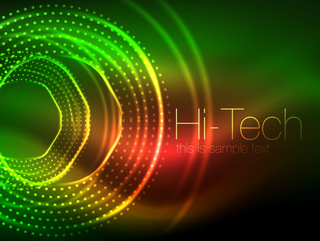 Magic neon circle shape abstract background, shiny light effect template for web banner, business or technology presentation background or elements, vector illustration. Disco or party design
