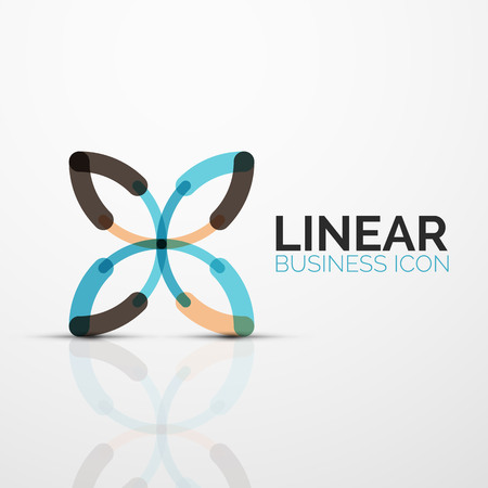 Outline minimal abstract geometric linear business icon made of round color line segments, elements. Vector illustration