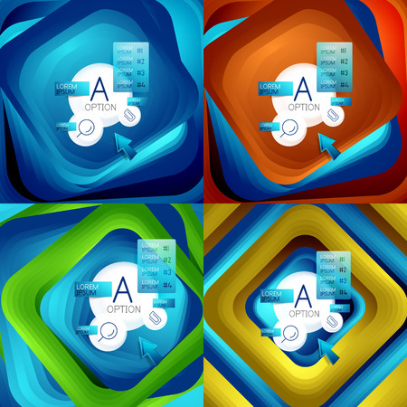 Set of rotating swirl square backgrounds, color rectangles with stepping blending effect with sample infographics or slogan. Business presentation templates. Çizim