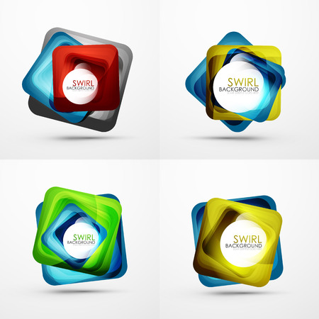 Collection of abstract square shape backgrounds Illustration