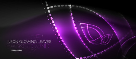 Neon leaf background, green energy concept Vector illustration.