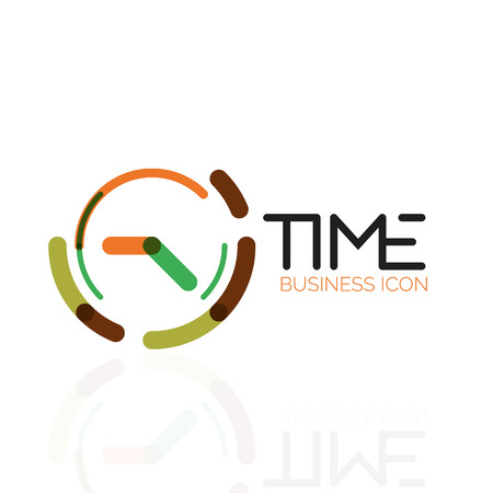 Vector abstract icon idea, time concept or clock business icon. Creative logotype design template.