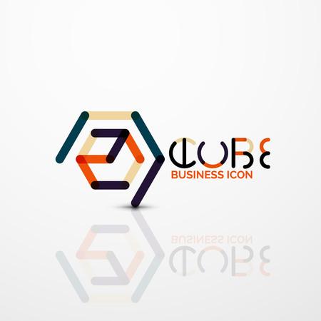 Cube idea concept icon, line vector illustration.