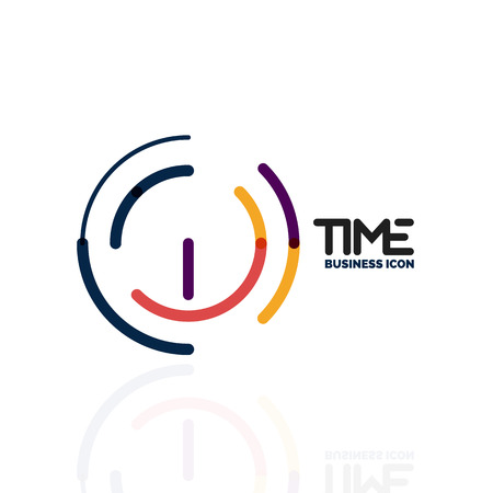 Vector abstract icon idea, time concept or clock business icon. Creative icon design template illustration. Illustration