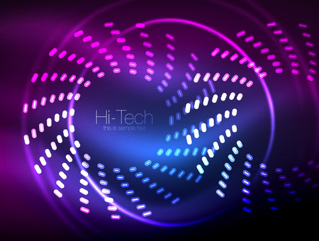 Glowing neon dotted shape abstract background. Technology shiny concept design, magic space geometric background.