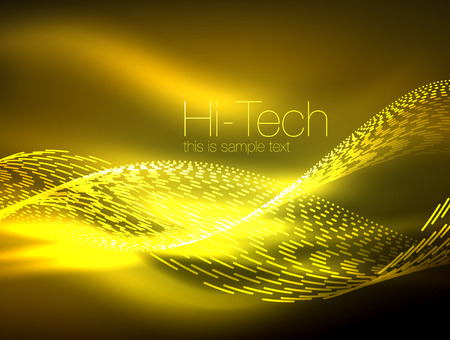 Neon smoke waves, futuristic concept background. Illustration