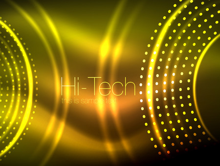 Glowing circular neon dotted shape abstract geometric technology background.
