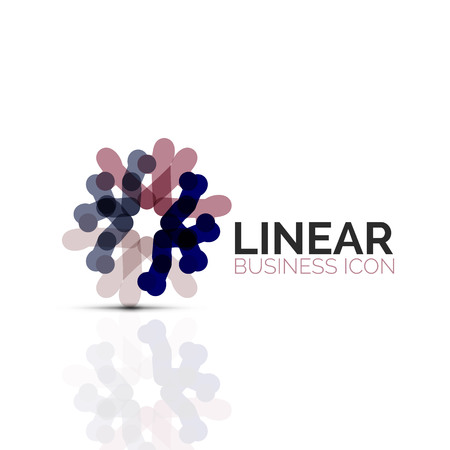 Abstract flower or star, linear thin line business icon symbol with line segments.