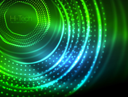 Magic neon circle shape abstract background, shiny light effect template for web banner, business or technology presentation background or elements, vector illustration Illustration