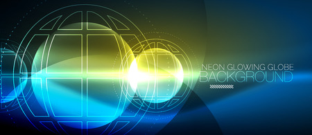 Techno globe concept, neon glow planet Ilustração