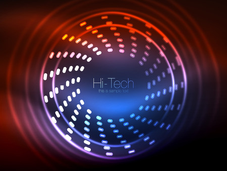 Glowing neon dotted shape abstract background, technology shiny concept design, magic space geometric background Çizim
