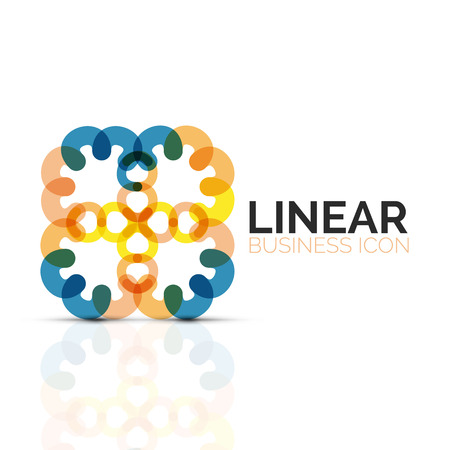 Abstract flower or star, linear thin line icon. Minimalist business geometric shape symbol created with line segments