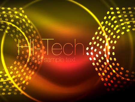 Glowing neon dotted shape abstract background, technology shiny concept design, magic space geometric background Stock Photo