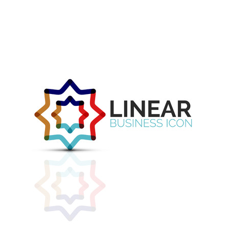 Abstract flower or star, linear thin line icon