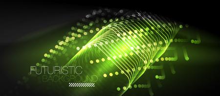 Neon glowing techno lines, futuristic background. Illustration