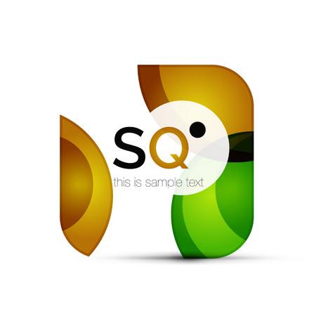 Square geometric abstract business emblem vector illustration. Illustration