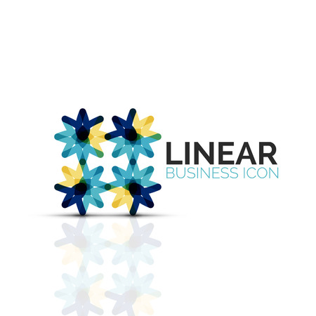 Abstract flower or star, linear thin line icon. Business geometric shape symbol created with line segments.