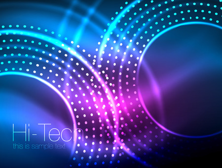 Magic neon circle shape abstract background, shiny light effect template for web banner, business or technology presentation background or elements, vector illustration Иллюстрация