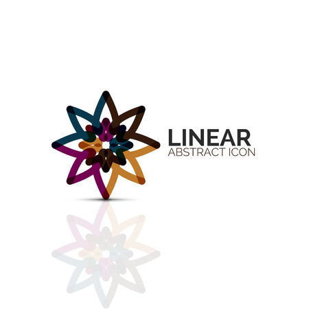 Abstract flower or star linear icon, thin line geometric flat symbol for business icon design, abstract button or emblem.