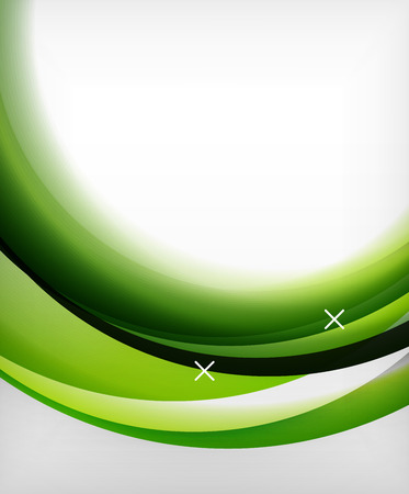 Glossy lower left wave circled vector background with light and green illustration shadow effects with 2 white cross shapes Illustration