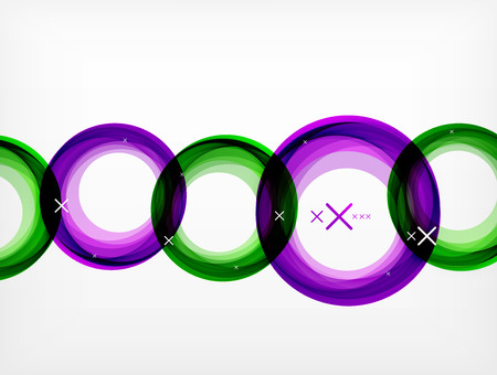 ALternately uneven circles with overlapping on green and purple colors with white crosses marks.